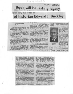 Book will be lasting legacy of historian Edward J. Buckley