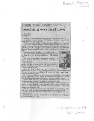 Francis 'Frank' Buckley: Teaching was first love