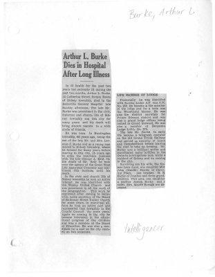 Arthur L. Burke Dies in Hospital After Long Illness