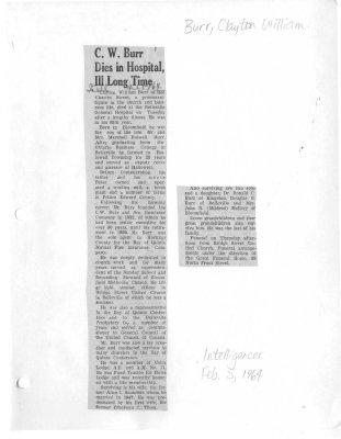 C. W. Burr Dies in Hospital, Ill Long Time