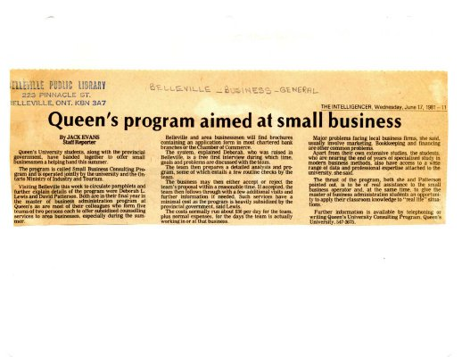 Queen's program aimed at small business