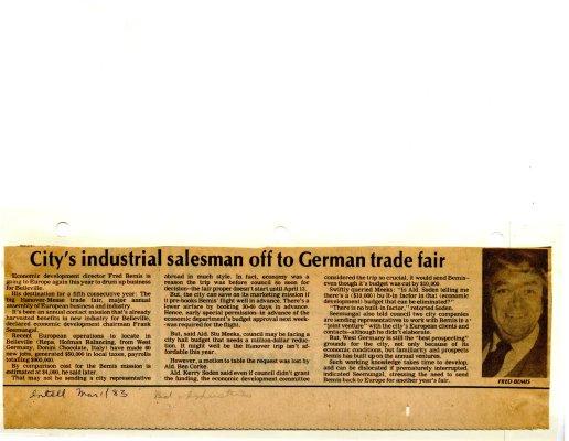City's industrial salesman off to German trade fair