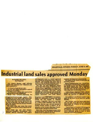Industrial land sales approved Monday