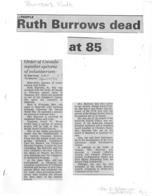 Ruth Burrows dead at 85