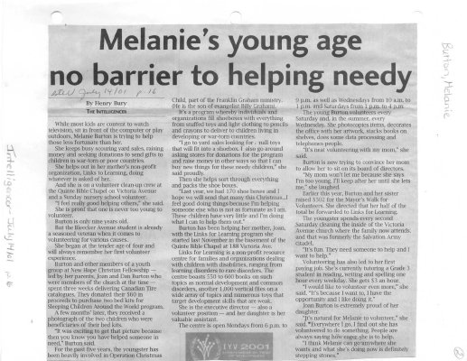 Melanie's young age no barrier to helping needy