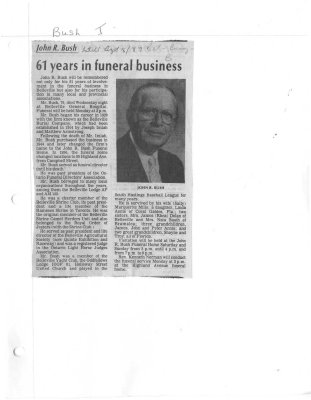 61 years in funeral business