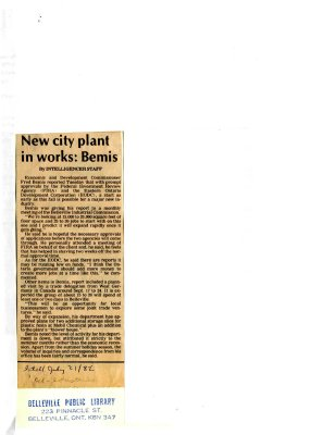 New city plant in works: Bemis