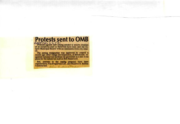 Protests sent to OMB