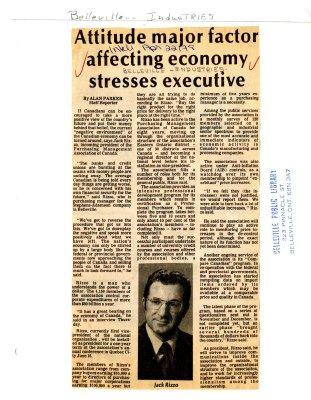 Attitude major factor affecting economy stresses executive