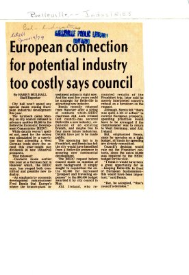 European connection for potential industry too costly says council