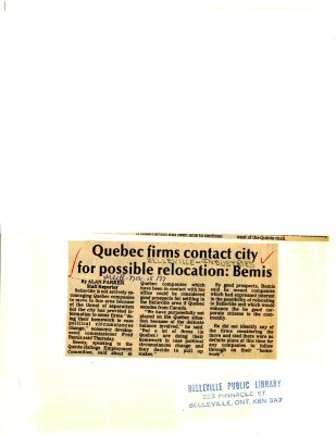 Quebec firms contact city for possible relocation: Bemis