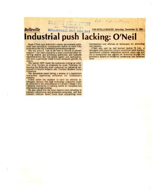 Industrial push lacking: O'Neil