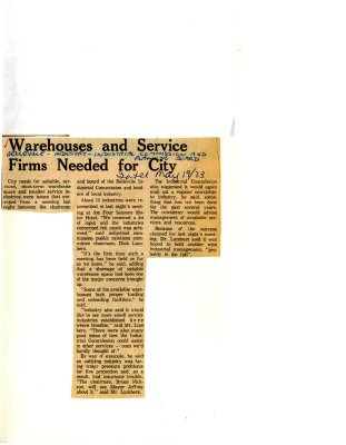 Warehouses and Service Firms Needed for City