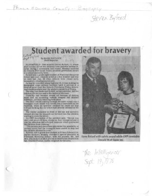 Student awarded for bravery
