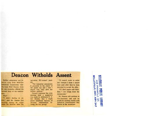 Deacon Witholds Assent