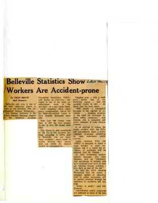 Belleville Statistics Show Workers are Accident-prone