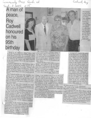 A man of peace, Roy Cadwell honoured on his 95th birthday