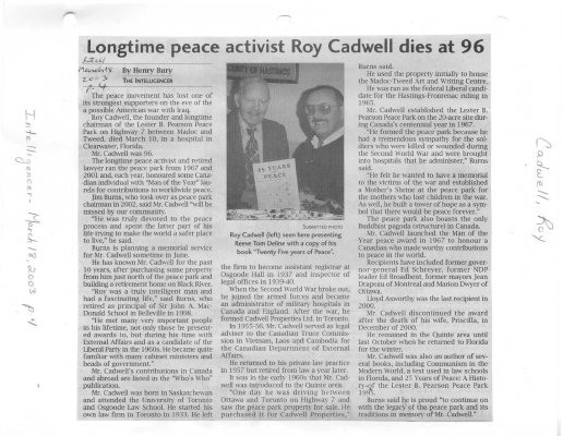 Longtime peace activist Roy Cadwell dies at 96