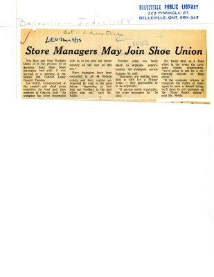 Store Managers May Join Shoe Union