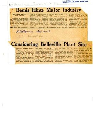 Bemis Hints Major Industry Considering Belleville Plant Site