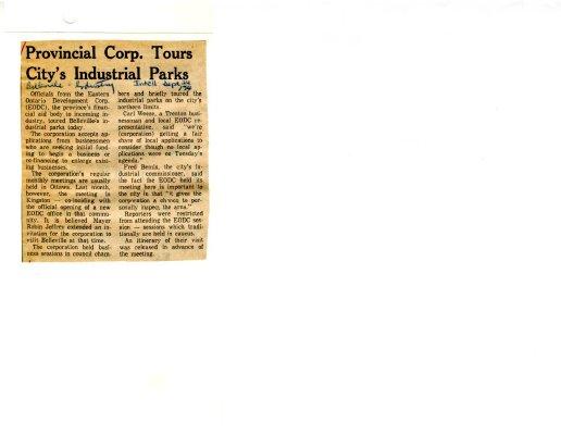 Provincial Corp. Tours City's Industrial Parks