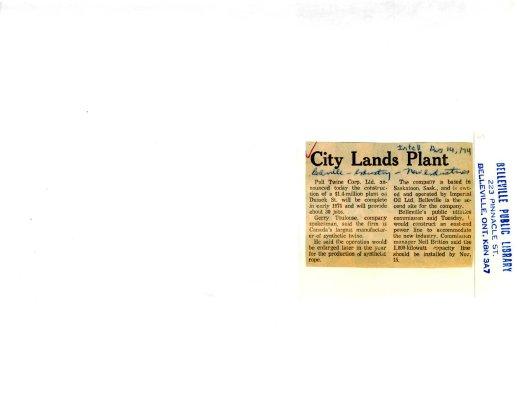 City Lands Plant