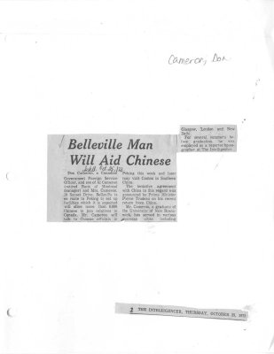 Belleville Man Will Aid Chinese