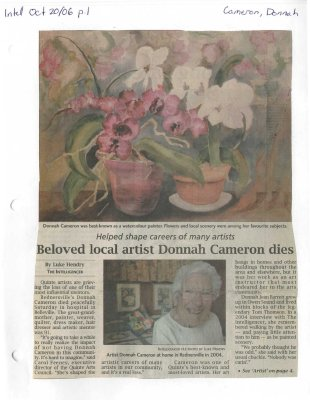 Beloved local artist Donnah Cameron dies