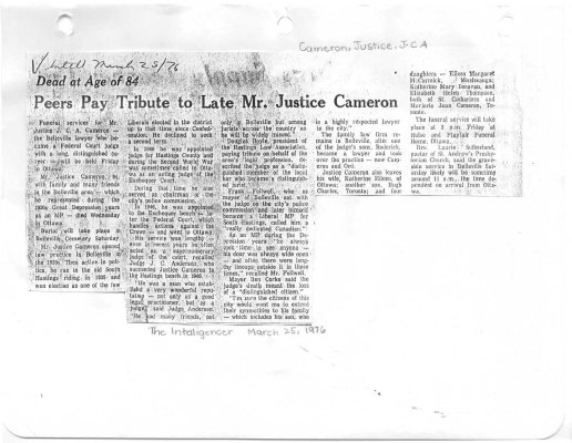 Peer Pay Tribute to Late Mr. Justice Cameron