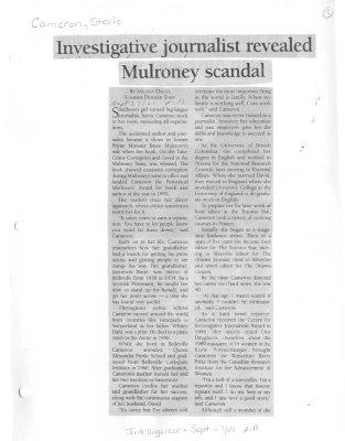 Investigative journalist revealed Mulroney scandal