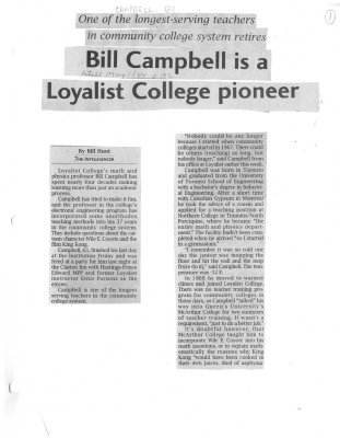 Bill Campbell is a Loyalist College pioneer