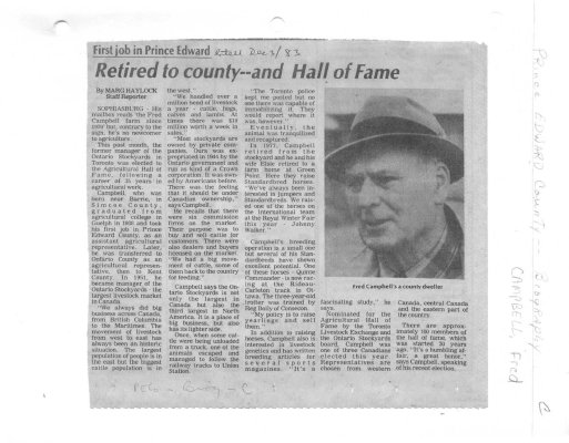 Retired to county...and Hall of Fame