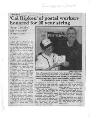 'Cal Ripken' of postal workers honored for 25 year string