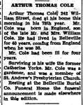 Cole, Arthur Thomas (Died)