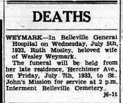 Weymark, Ruth Mosley (née Mosley) (Died)