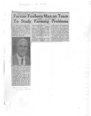 Former Foxboro Man on team To Study Farming Problems