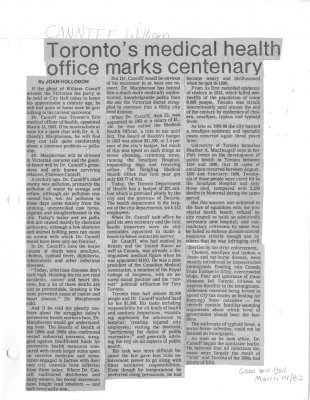 Toronto's medical health office marks centenary