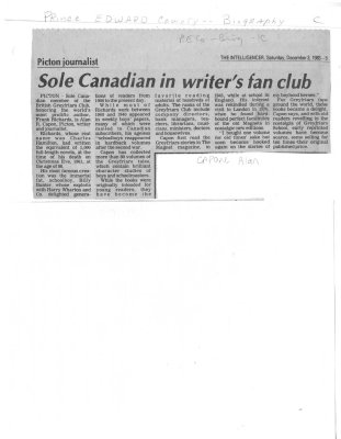 Sole Canadian in writer's fan club