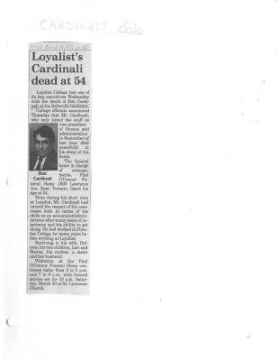 Loyalist's Cardinali dead at 54