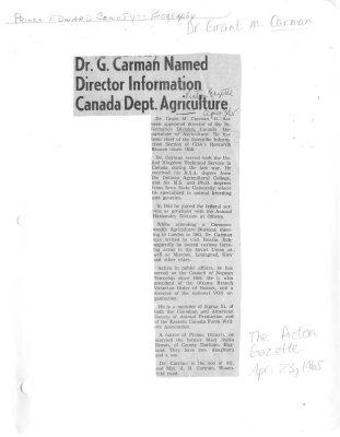 Dr. G. Carman Named Director Information Canada Dept. Agriculture