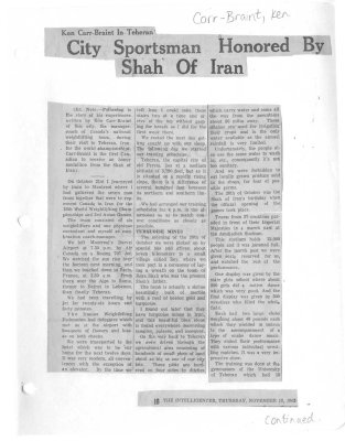 City Sportsman Honored By Shah Of Iran