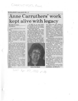Anne Carruthers' work kept alive with legacy