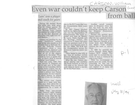 Even war couldn't keep Carson from ball
