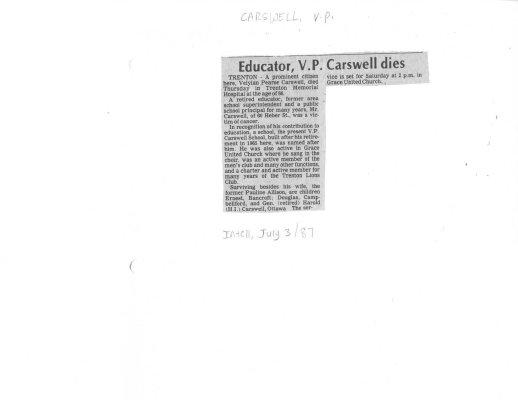 Educator V. P. Carswell dies