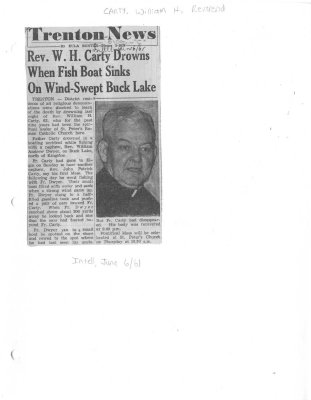 Rev. W. H. Carty Drowns When Fish Boat Sinks On Wind-Swept Buck Lake