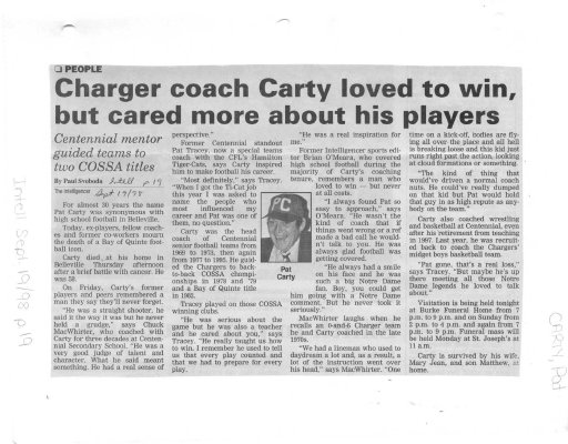 Charger coach Carty loved to win, but cared more about his players