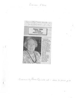 Happy 100th birthday Flora Carver!
