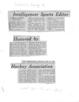 Intelligencer Sports Editor Honored by Hockey Association
