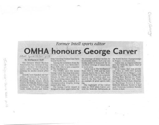 OMHA honours George Carver