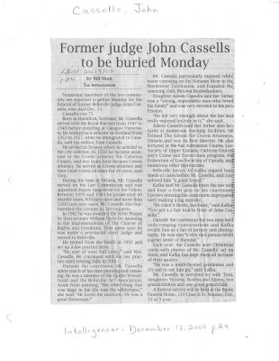 Former judge John Cassells to be buried Monday